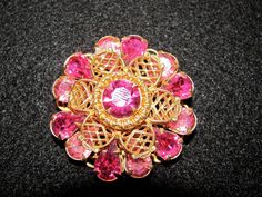 Gorgeous Miriam Haskell Style Pink & Gold Tone Brooch Pin, 60's Couture Jewelry