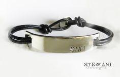 Personalized Nickel Silver bracelet. Men's leather bracelet. Custom hand stamped bracelet. Initial bracelet. Id bracelet