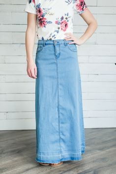 08d50279e Elyse Modest Denim Skirt | No Slit Modest Denim Skirts, Below The Knee Skirt ,