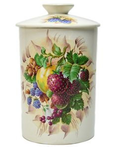Fortnum and Mason Porcelain Kitchen Dry Storage Jar with Berry Decor, Vintage English