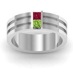 Mars Grooved Princess Gemstone Mens Ring #jewlr