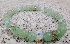 Grüner Aventurin, Mondsteine, Perlen 8mm, Grünes Armband, Glitzersteine…