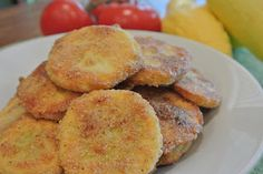 """Southern Summer Squash....tender yellow squash, lightly coated in cornmeal and oven """"fried"""" until golden and crisp. A new twist on traditional fried squash."""