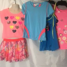 05d42a30a57 Girls Outfits Five Pieces Lot Size 4 5 CoraL Blue Pink  50Val Summer Clothes