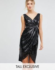 TFNC Tall Wrap Front Sequin Midi Dress With Satin Waist Band 00b6d8ee6
