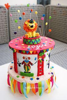 Zirkus Torte zum Geburtstag mit Löwe ... Circus cake with a Lion ...