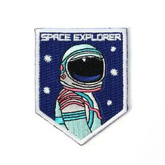 One of our best selling patches now in a mini size! This adorable patch measures tall x 2 wide. The perfect little buddy to any full size patched up jacket or bag! Iron-on backing. Cool Patches, Pin And Patches, Iron On Patches, Jacket Patches, Badges, Space Patch, I Need Space, Aesthetic Space, Mini