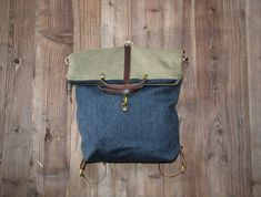Convertible backpack in shoulder strap Bradley Mountain, Convertible, Backpacks, Etsy, Gray, Purse, Brown Leather, Cotton Canvas, Suspenders
