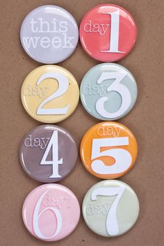 Project Life Flair Buttons - A week in the Life Flair. $6.00, via Etsy.