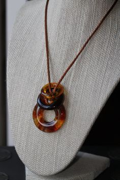 Fused Glass Pendants/NecklaceAmber Rings .