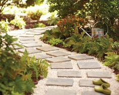 Mini Stones Pathway: Place many small square stones down on a graveled path to make this cute walkway.
