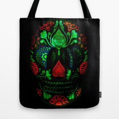 Ornate Day of the Dead Sugar Skull Tote Bag by OnlineGifts - $22.00