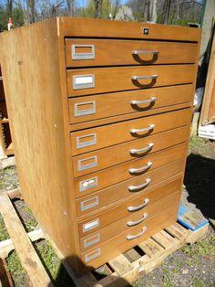 vintage 70s 10 drawer MAP BLUEPRINT COLLECTOR wood storage cabinet