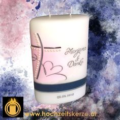 Hochzeitskerze Oval rosa blau Pillar Candles, Candle Jars, Pink, Candles, Homemade, Blue, Gifts, Decorations, Ideas
