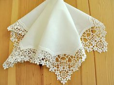 German Plauen Lace Handkerchief Style No. 40911 with Classic 3-Initial Monogram Wedding Handkerchief. $39.00, via Etsy.