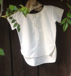 Rare, Cream, Vintage, Small Boy's, Collarless Shirt. Super Trendy with Jeans even Today. Ideal for a  2  to 3 year old. by fleursenfrance. Explore more products on http://fleursenfrance.etsy.com