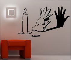 wall paintings for bedrooms | RABBIT SHADOW graffiti wall art sticker lounge bedroom kitchen banksy ...