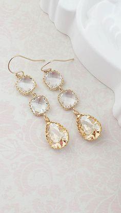 Golden Shadow Swarovski Crystal Dangle Earrings from EarringsNation Gold Weddings Gold Earrings