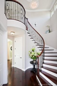 Love the stain on the floors and stairwell