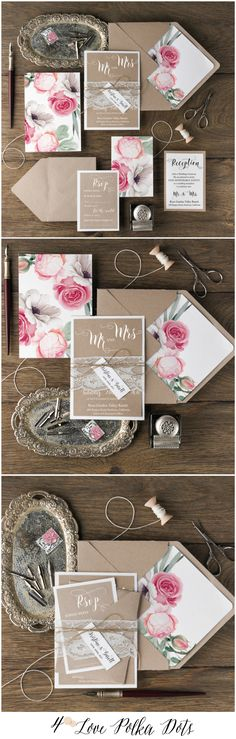 Eco Rustic Lace Wedding Invitations with Peonies #weddingideas #peony #peonies #wedding #floral #flowers #botanical #rustic #ecofriendly #romantic