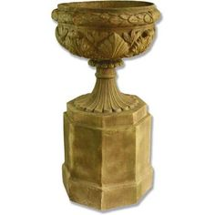 Large Urn Mounted on Pedestal - Large urn pedestal combination. This urn is permanently connected to its pedestal. This piece has a wonderful look at would be great for any garden or patio area. Made from durable fiber stone Large Garden Planters, Backyard Planters, Stone Planters, Indoor Planters, Patio, Urn, Pedestal, Display