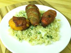 Stuffed Peppers Wrapped in Bacon Over Cilantro Lime Cauliflower Rice : Primal Paleo