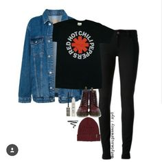 #outfit // •black jeans •black band-shirt  (Red Hot Chili Peppers) •jeansjacket •red beanie •red docs // -> instagram: style.supremacy