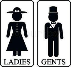 Icons von Männern und Frauen im Retro-Stil. Toilet Logo, Toilet Signage, Toilet Icon, Ladies Gents, Toilet Design, Retro Stil, Illustration, Bathroom Signs, Stick Figures
