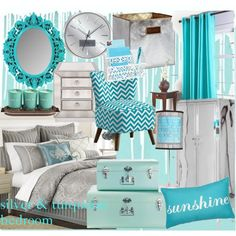 turquoise comforter set | Silver and Turquoise Bedroom - Polyvore