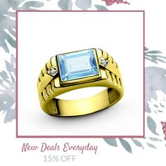 Today Only! 15% OFF this item.  Follow us on Pinterest to be the first to see our exciting Daily Deals. Today's Product: 10k Yellow Gold Men's Ring with Blue Topaz and Genuine Diamonds Statement Ring Buy now: http://www.jewelsformen.com/products/copy-of-10-k-solid-yellow-gold-mens-ring-with-3-40-ct-topaz-and-0-02-ct-diamonds?utm_source=Pinterest&utm_medium=Orangetwig_Marketing&utm_campaign=Daily%20Deal   #fashionnews #jewelrytrends #streetfashionstyle #mensjewelryfashion #jewelsformen…