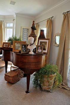 I have inherited my mom's baby grand. Our living room isn't very big so I struggle to decorate on top of it so it doesn't just feel like wasted visual space.... but this seems pretty over the top! Baby Grand Piano Design Ideas, Pictures, Remodel, and Decor - page 3