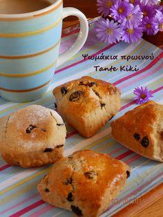 Tante Kiki: Scones... μικρά ψωμάκια πρωινού με κανέλα και σταφ... Brownie Recipes, Scones, Muffin, Cookies, Breakfast, Breads, Food, Brownies, Blogging