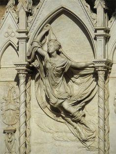 Burial monument for Louise De Favreau (1854) by Félicie de Fauveau, upper loggia of the first cloister of Santa Croce, Florence