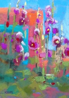 Blue Skies and Hollyhocks...Last Day in Albuquerque, painting by artist Karen Margulis