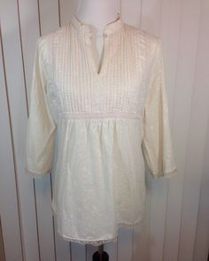 Vintage Beige Hippie Blouse or Tunic with Small White Flowers and Beige Lace, Back Tie with Lace Around The Bottom Ladies Large to XLarge by Oldtonewjewels on Etsy