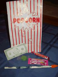 """On the first day of school, I give each of my students a """"Welcome Bag"""". Since my classroom theme is Hollywood, I use popcorn bags to hold everything."""