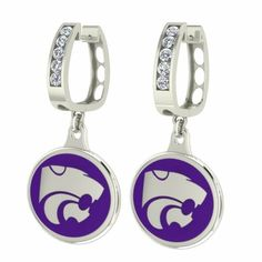 KANSAS STATE WILDCATS CZ AND ENAMEL EARRINGS
