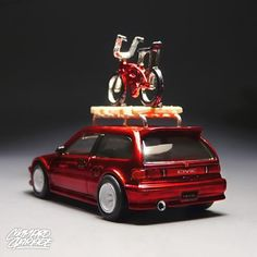 Hot wheels 1990 Honda Civic.    Custom :  - spectraflame red paint  - detailed headlamps and tail lights  - handmade roof rack  - popcycle's bike  - watanabe real rider wheels  - custom muffler tip    #hotwheels #hotwheelscar #hotwheelsrims #hotwheelsphoto #hotwheelspics #hotwheelscustom #toycrewbuddies #toycar #loves_toycars #diecasttoys #diecastcars #lamleycustoms #fnlcustom #cgworks #jdm_custom_hotwheels #jdm #japan #civic #honda #stance #candytone #toyphotography #spectraflamefever