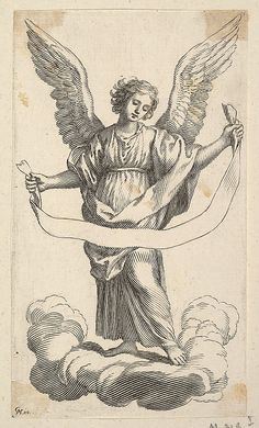 Angel with a Banderole Claude Mellan (French, Abbeville 1598–1688 Paris) Medium: Etching; first state of three