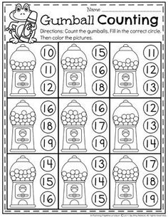 Number Practice Worksheets for Kindergarten - Gumball Counting
