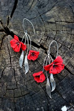 Polymer clay jewelry with Red Poppy flowers - 925 Silver Handmade floral earrings - Mother's Day Gift by PolymerFlorejewellry on Etsy