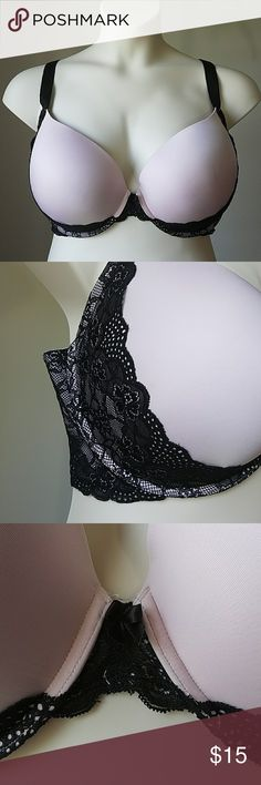 Torrid Pale Pink Black Lace Push Up Plunge Bra Great used condition - minor pilling on the lace portion.  This is padded to provide a boost for the ladies! Size 40G or 40DDDD torrid Intimates & Sleepwear Bras