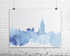 New York Watercolor Poster digital file  by LittleWorkshopPrints