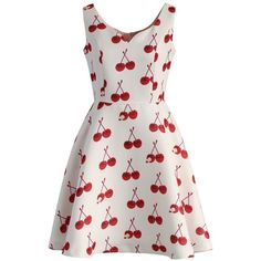 Chicwish Cherry My Love Skater Dress (660 MXN) ❤ liked on Polyvore featuring dresses, vestidos, платья, sleeveless dress, red, red sleeveless dress, white skater dresses, no sleeve dress, cherry dress and cherry red dress