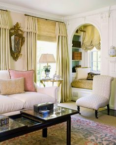 beautiful room - Charlotte Barnes...love the window seat with balloon shade