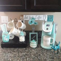 90 Beautifully Designed Countertop Coffee Stations Lures And Lace Coffee Station Kitchen, Coffee Bars In Kitchen, Coffee Bar Home, Home Coffee Stations, Teal Kitchen Decor, Kitchen Themes, Cafe Themed Kitchen, Kitchen Ideas, Kitchen Designs