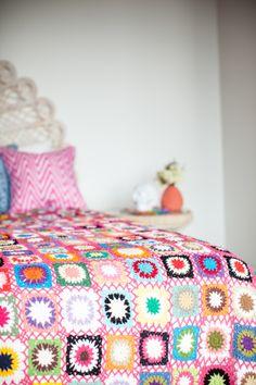 Open weave pink patchwork granny blanket / Milly & Eugene