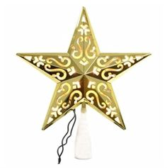 Gold 5 Point Star Christmas Light Up Tree Topper Holiday Decoration 10 Inch *** Check this awesome product by going to the link at the image.