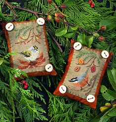 Button Up Birdies #6 - Cross Stitch Pattern by The Victorian Sampler