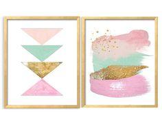 Mint roze geometrische afdrukbare Aqua roze door ModernPrintableArt
